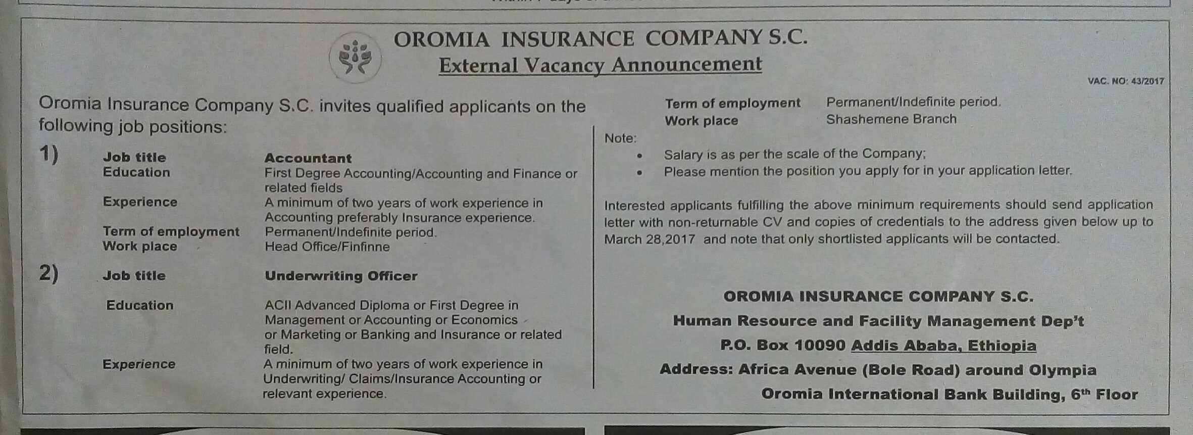 Shemssu :: Oromia Insurance Company S C External Vacancy