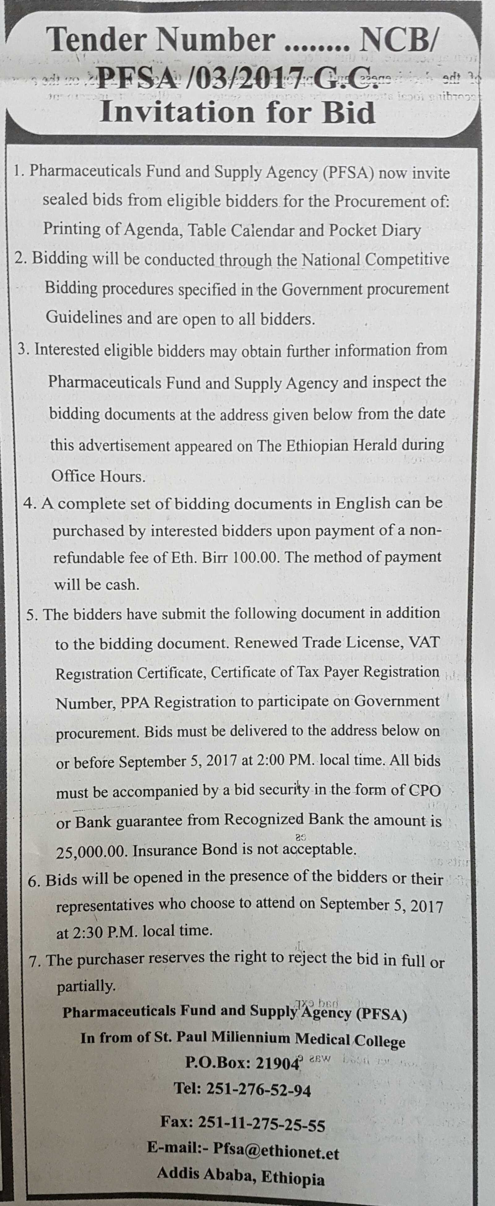 Shemssu :: Pharmaceutical fund and supply agency (PFSA) in form of